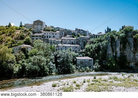 Ardeche France, View Of The Village Of Balazuc In Ardeche. France