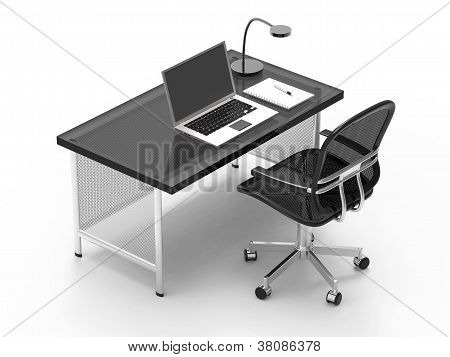 Office Desk With Computer, Notebook, Light And Pen