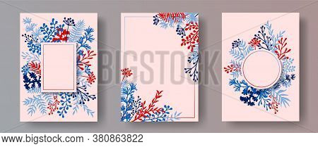 Tropical Herb Twigs, Tree Branches, Flowers Floral Invitation Cards Set. Herbal Corners Romantic Car