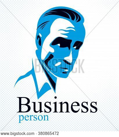 Confident Successful Businessman Handsome Man Business Person Vector Logo Or Illustration Realistic