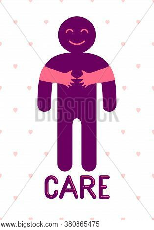Beloved Man With Care Hands Of A Lover Woman Hugging And Caresses His Chest, Vector Icon Logo Or Ill