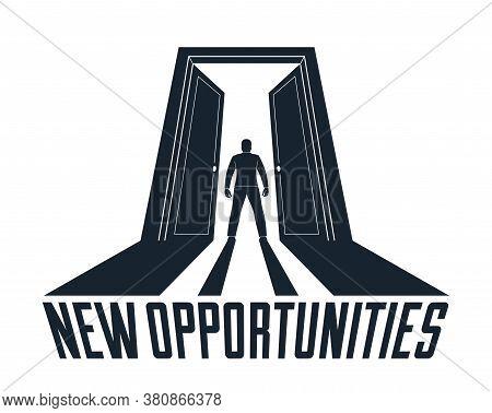 Man Standing In Half Open Big Door Hesitating To Step In Vector Concept Of New Opportunities, Step I