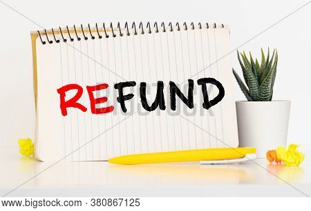 Words Refund On Copybook Page, Business Concept