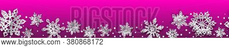 Christmas Seamless Banner With Volume Paper Snowflakes With Soft Shadows On Pink Background. With Ho
