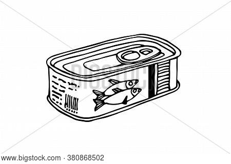 Canned Sprats, Delicious Seafood, For Icon, Logo Or Emblem, Vector Illustration With Black Ink Conto