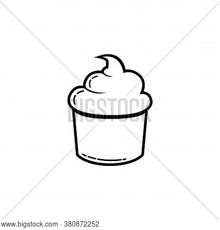 Simple Line Cupcake Icon Isolated On White Backgroun. Cupcake Icon Trendy And Modern Cupcake Symbol.