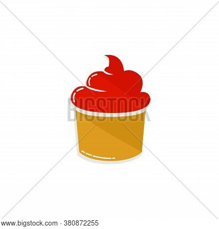 Colored Cupcake Icon Isolated On White Backgroun. Cupcake Icon Trendy And Modern Cupcake Symbol. Cup
