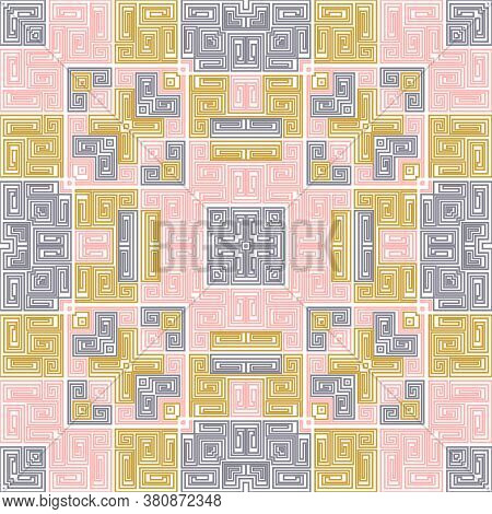Navajo Geometric Seamless Pattern Ethnic Design. Vector Tribal Fabric Print. Mexican Or Peruvian Tri