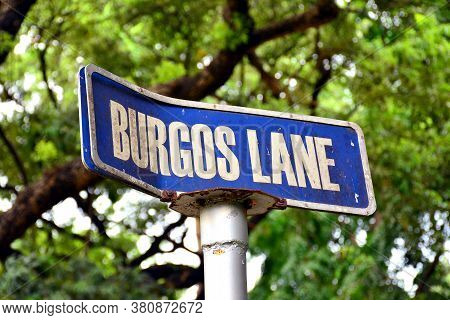 Manila, Ph - June 2 - University Of Santo Tomas Burgos Lane Street Post Sign On June 2, 2018 In Mani