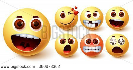 Emoticon Vector Set. Emoji Faces In Different Facial Expressions And Feelings Like Surprise, In Love