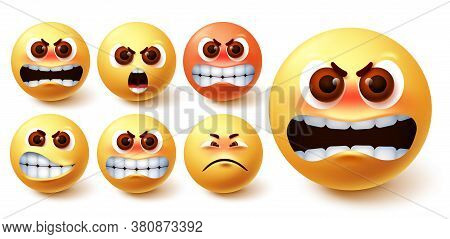 Angry Emoji Vector Set. Emoji In Yellow Face With Different Facial Expression Like Mad, Irritated, P