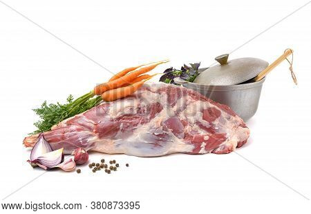 Raw Leg Of Mutton On A Bone On A White Isolated Background. Sheep Meat Close-up.a Fresh Piece Of Mut