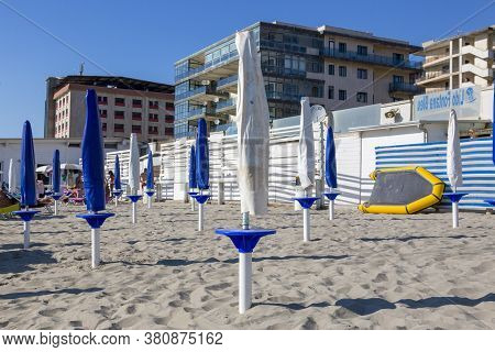 Castel Volturno, Italy - August 18, 2019: Beach By The Sea In The City Of Castel Volturno In Italy