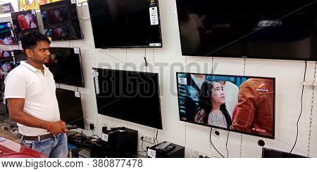 District Katni, India - September 20, 2019: Branded Television Presented On The Wall Video Playing M
