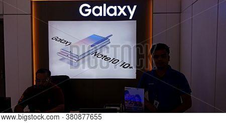 District Katni, Madhya Pradesh, India - 17 October 2019: Samsung Note 10 Plus Digital Hording Presen