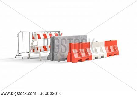 Four Types Of Road Barricades - Steel Barricade - A-frame Barricade, Concrete Barricade, Water Fille