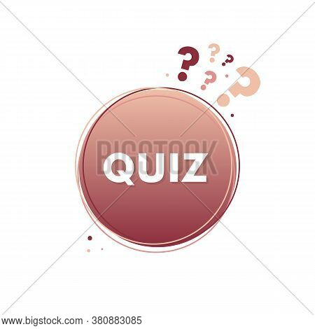 Rose Gold Quiz Design Element With Question Marks And Dots. Quiz Game Vector Sign, Sticker, Label.