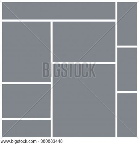 Photo Collage Template. Square Mood Board. Vector. Mosaic Frame Banner. Picture Grid. Moodboard Back