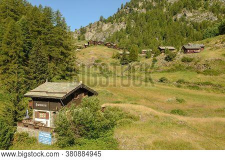 Village Of Blatten Over Zermatt In The Swiss Alps