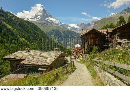 Small Mountain Village Over Zermatt On The Swiss Alps