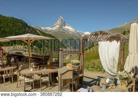 Restaurant Over Zermatt On The Swiss Alps