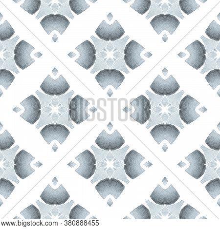 Textile Ready Memorable Print, Swimwear Fabric, Wallpaper, Wrapping.  Black And White Brilliant Boho