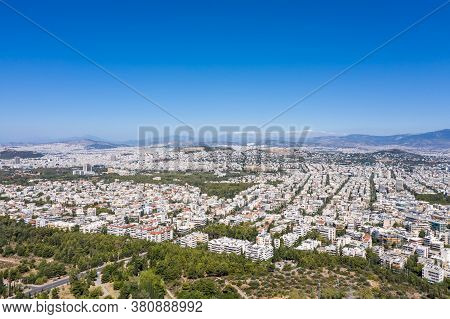 Athens Greece Erial View From Hymettos Mount, Sunny Summer Day.
