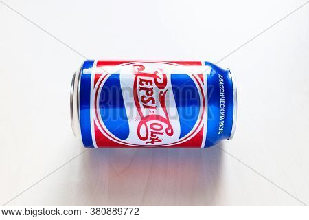 Moscow, Russia - August 6, 2020: Limited Edition Can Of Pepsi With Design From The 40s Of The 20th C
