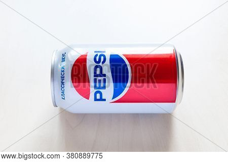 Moscow, Russia - August 6, 2020: Limited Edition Can Of Pepsi With Design From The 80s Of The 20th C