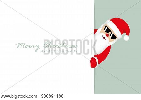 Cute Santa Claus With Sunglasses Looks Around The Corner Funny Christmas Design Vector Illustration