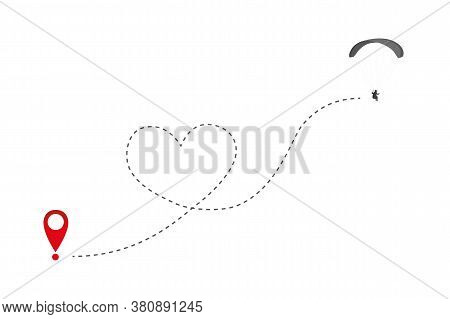Paraglider Flies In Heart Form To The Destination Vector Illustration Eps10
