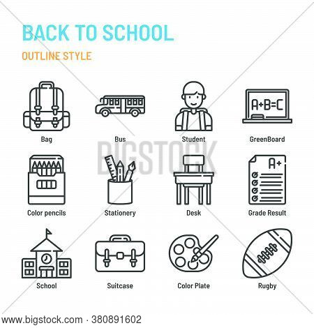 Back To School In Outline Icon And Symbol Set
