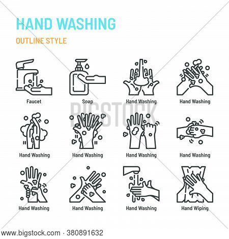 Hand Washing In Outline Icon And Symbol Set