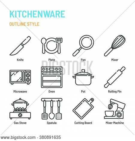 Kitchenware In Outline Icon And Symbol Set