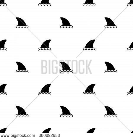 Seamless Pattern Shark Fin Icon Vector White Background. Fish Fin Ocean Illustration. Dolphin Fins I