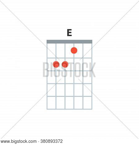 E Guitar Chord Icon. Basic Guitar Chords Vector Isolated On White. Guitar Lesson Illustration.