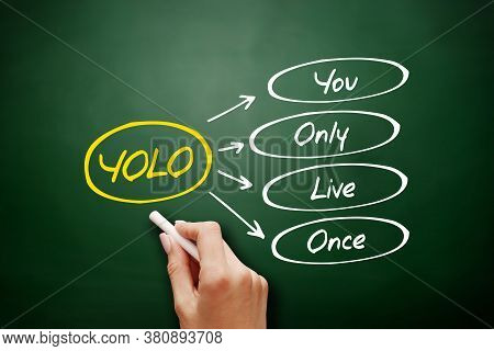 Yolo - You Only Live Once Acronym, Concept Background On Blackboard
