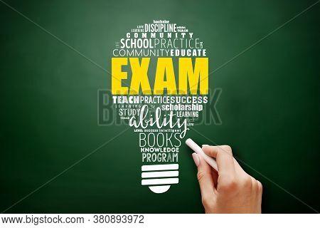 Exam Light Bulb Word Cloud, Education Concept Background On Blackboard