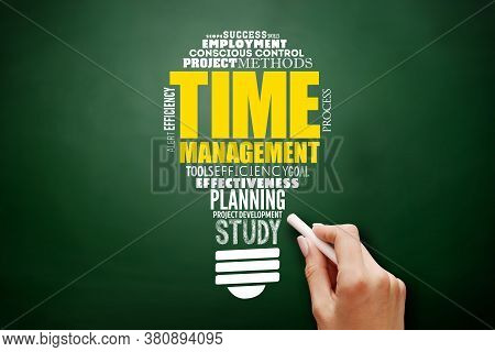 Time Management Light Bulb Word Cloud, Business Concept Background On Blackboard