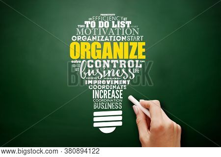 Organize Light Bulb Word Cloud Collage, Business Concept Background On Blackboard