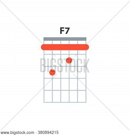 F7 Guitar Chord Icon. Basic Guitar Chords Vector Isolated On White. Guitar Lesson Illustration.