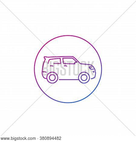 Suv Car Icon On White, Line, Eps 10 File, Easy To Edit