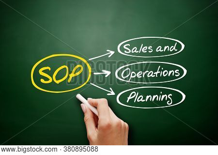 Sop - Sales And Operations Planning Acronym, Business Concept Background On Blackboard