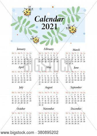 Ladybird. Calendar 2021. Vector Cartoon Character For Childrens Planning. Cute Yellow Ladybugs On A