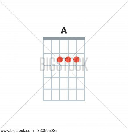A Guitar Chord Icon. Basic Guitar Chords Vector Isolated On White. Guitar Lesson Illustration.