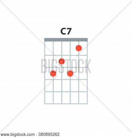 C7 Guitar Chord Icon. Basic Guitar Chords Vector Isolated On White. Guitar Lesson Illustration.