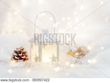 Christmas Background With Christmas Tree, White Lantern, And Decorations