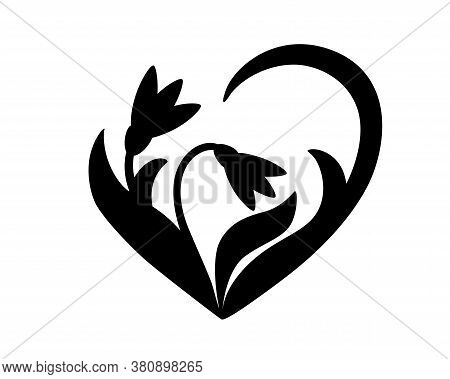 Snowdrops - Black Vector Silhouette For Pictogram Or Logo. Snowdrop Flowers And Leaves - Sign Or Ico