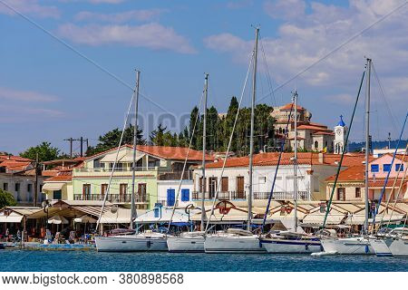 Samos Island, Greece - May 23, 2017: Yachts In The Port Of Pythagorion Village, Traditional Greek Vi