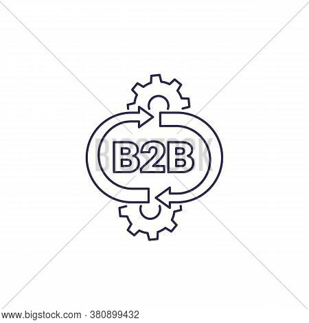 B2b Service Vector Line Icon On White, Eps 10 File, Easy To Edit